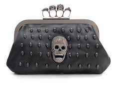 Skull Knuckle Duster Gothic Clutch Steampunk 4 Rings Black Faux Leather NEW Wallet Chain, Clutch Wallet, Clutch Bags, Black Handbags, Purses And Handbags, Crane, Estilo Dark, Skull Purse, Skull Shoes