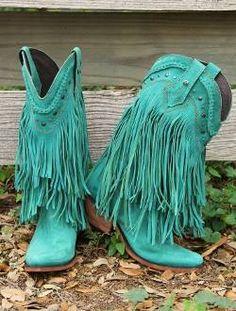 ༻✿༺ ❤️ ༻✿༺ Liberty Black Fringe Boot-Turquoise | Yaya Gurlz ༻✿༺ ❤️ ༻✿༺