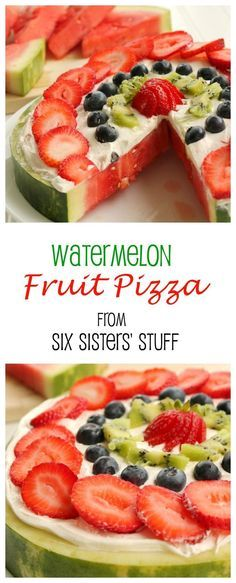 Fruit Pizza Perfect for a summer cookout party! I can't wait to make this Watermelon Fruit Pizza for my Fourth of July party!Perfect for a summer cookout party! I can't wait to make this Watermelon Fruit Pizza for my Fourth of July party! Watermelon Fruit Pizza, Pizza Fruit, Watermelon Cake Ideas, Sweet Watermelon, Fruit Pie, Eat Fruit, Fruit Recipes, Dessert Recipes, Cooking Recipes