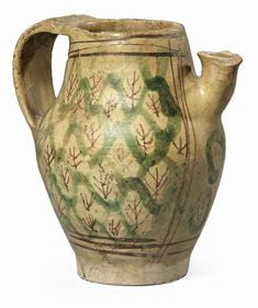 Boccale in maiolica policroma - cm. 18,5 h. Ceramic Tableware, Byzantine, Medieval, Graffiti, Pottery, Vase, Mugs, Armature, Antiques