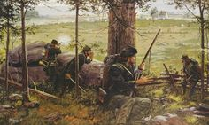 """""""Breechloaders and Greencoats."""" The 2nd United States Sharpshooters during the Battle of Gettysburg, 1863. By Dale Gallon, 1994. [[MORE]]chubachus: Elements of Hiram Berdan's 2nd United States Sharpshooters, armed with their .52 caliber Sharps' breechloading rifles, in their trademark green coats, engage Longstreet's Corps. Source."""