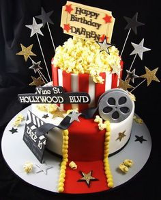 Movie Themed Cake - - Storefront Life - Storefront Life Rae This Is SO You!Hollywood Movie Theme Birthday Cake, Children's Movie Theme Cake, Movie Cakes, Movie Party, Movie Theater Party, Pretty Cakes, Cute Cakes, Beautiful Cakes, Amazing Cakes, Cake Original