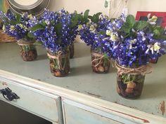 Diy bluebonnet and mint arrangements