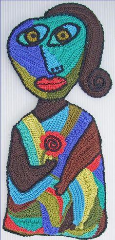 Picasso-inspired freeform crochet art by Bonnie Prokopowicz cool modern art from crochet Knit Art, Crochet Art, Crochet Home, Love Crochet, Irish Crochet, Crochet Flowers, Crochet Patterns, Crochet Music, Knitting Patterns