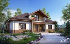 Проект на красива къща с мансарден етаж | Art senses - артистични идеи за интериор и градина Village House Design, Duplex House Design, Village Houses, Small House Design, Dream Home Design, Home Design Plans, Style At Home, Philippines House Design, Philippine Houses