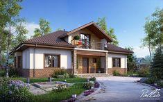 Проект на красива къща с мансарден етаж | Art senses - артистични идеи за интериор и градина Modern Bungalow House, Home Design Plans, Cottage Homes, Cabana, Home Fashion, Exterior Design, Modern Farmhouse, Building A House, House Plans