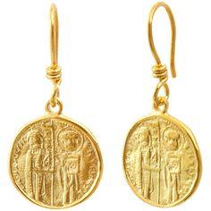 Byzantine Dangle Earrings Solid 18K Yellow Gold Earrings Hook Earrings... ($681) ❤ liked on Polyvore featuring jewelry, earrings, gold jewellery, 18k gold jewelry, gold coin jewelry, gold jewelry and long earrings