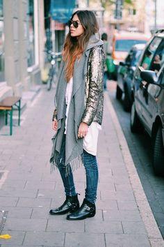 Find more metallics inspo at www.fashionaddict.com.au similar scarf: http://lwk.nu/p44 similar jeans: http://lwk.nu/p45 similar shoes: http://lwk.nu/p46