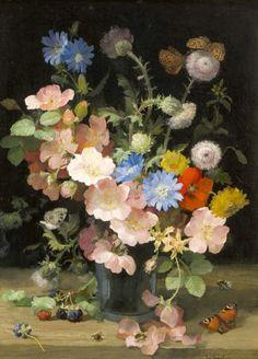 Йозеф Конечны (1907-1989) - Натюрморт с цветами и бабочками, масло на панели, 40 х 30 см.