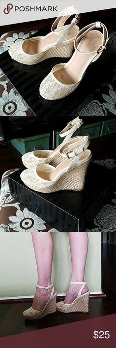 A beautiful pair of Victoria's Secret shoes Very sexy shoes. Have worn once. Almost brand new! Victoria's Secret Shoes Wedges