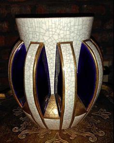 Emaux De Longwy VASE Decore A La Main Pottery Ceramic FRANCE Blue GOLD Art Pot