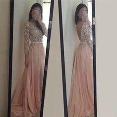2016 Una Línea de Vestidos de Novia Partido Vestido de Manga Larga robe de soirée V Volver vestido de festa longo Gasa Vestido de Dama de honor