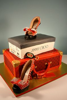 Jimmy Choo Spiked Red Soled Heels and Red Louis Vuitton Case