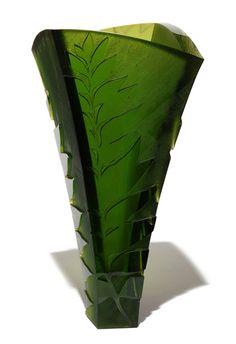 Ann Robinson - Fern Vase #3 (Dark Olive Green) (2014) Glass Design, Design Art, Modern Glass, Ferns, Olive Green, Glass Art, Ann, Contemporary, Collection