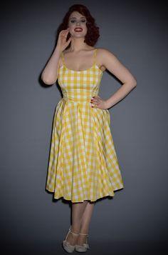 Priscilla Vintage Style 50's dress in Lemon yellow gingham
