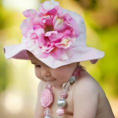 Buy adorable sun hats for baby girls at SugarBabies Boutique! We offer many lovely styles including a Pale Pink Sun Hat with Pale Pink Peony! Baby Sun Hat, Baby Girl Hats, Flower Hats, Little Fashionista, Baby Boutique, Pink Candy, Pink Peonies, Sun Hats, Baby Wearing