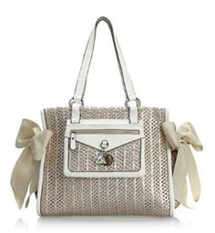 Juicy Couture Palm Springs Party Ms. Daydreamer Bag In Woven Silver and White $178.99