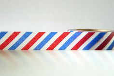 Chugoku Airmail Washi Tape - Red and Blue Stripe Air Mail Pattern. $3.00, via Etsy.
