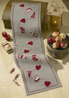 Stocking and Hearts Runner - Permin Christmas Cross Stitch Kit Christmas Sewing, Christmas Embroidery, Christmas Cross, Table Runner And Placemats, Burlap Table Runners, Cross Stitching, Cross Stitch Embroidery, Christmas Runner, Christmas Table Decorations