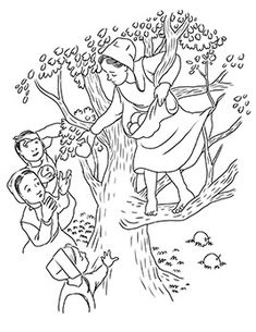 lily lapp apple tree coloring page - Amish Children Coloring Book Pages