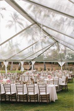 elegant outdoor wedding reception #tent #elegantwedding #weddingchicks http://www.weddingchicks.com/2014/03/05/hawaiian-pink-and-gold-wedding/