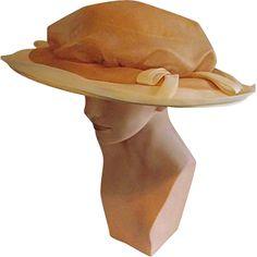 Beautiful Cathay of California Womens Vintage Peach Chiffon Hat