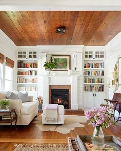 Sara's library is serious GOALS 😍📚 it's so bright, and beautiful, and SO cozy with the added touch of the fireplace 🥰 absolutely love it! Have a Happy Tuesday, sweet friends! Share kindness wherever you go ✨ Cottage Living Rooms, House Rooms, Home Living Room, Living Spaces, Dog Spaces, Living Area, Farmhouse Design, Farmhouse Decor, Farmhouse Style