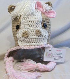 Crochet Horse Hat Pink Animal Hat by BeadGs on Etsy, $20.00