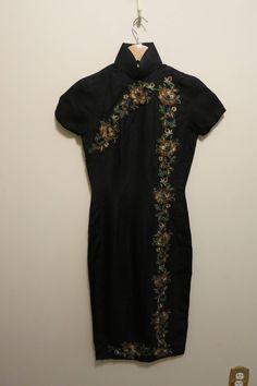 Kleid Cheongsam Bleistift wackeln Rockabilly schwarz Seide
