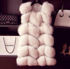 Chanel fur white vest