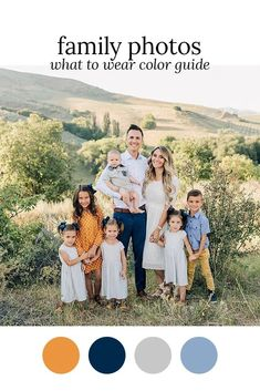 Fall Family Photo Color Scheme Outfits by Color Fall Family Picture Outfits, Spring Family Pictures, Family Picture Colors, Family Portrait Outfits, Family Photos What To Wear, Fall Family Portraits, Outdoor Family Photos, Family Picture Poses, Family Photo Sessions
