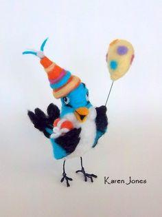 Needle felted party bird