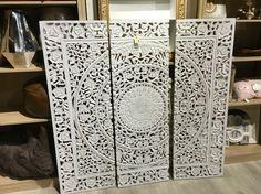 Wit houten drieluik-schilderij 150x150   Triptych, Wall decorations ...
