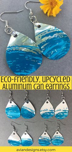 Made from aluminum cans, these fun ocean-inspired earrings are great for all bea. Aluminum Can Crafts, Aluminum Cans, Recycled Jewelry, Recycled Art, Eco Friendly Cleaning Products, Recycle Cans, Upcycle, Diy Jewelry Holder, Earring Display