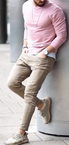 Hot on Instagram! 5.623 Likes so far. Real men can wear Pink. The Pink Sweater goes well with shades of Khaki and Tan. Follow rickysturn/mens-casual