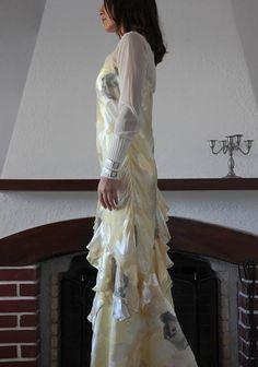 Vintage romantic cream yellow gray floral silk chiffon satin
