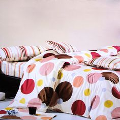 Blancho Bedding Colorful Bubbles Luxury Bed In A Bag Combo Queen Size . Five-piece set for Twin size (consisting of a pillow sham, a fitted sheet, a duvet cover, a comforter Bed Duvet Covers, Comforter Sets, Duvet Cover Sets, Comforter Cover, Polka Dot Bedroom, Polka Dot Bedding, Colorful Bubbles, Teen Girl Bedding, Colorful Bedding