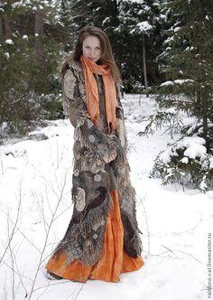 """Купить Авторское валяное пальто """"Коты, Шаманы"""" - пальто, пальто валяное, пальто из шерсти"""