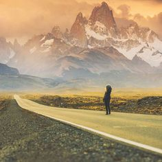 "'Travel far enough you meet yourself'  @kbish80 on the road to El Chalten Los Glaciares National Park Patagonia Argentina  Photo thanks to @timkemple who says ""The first time I traveled to the small mountain town of El Chalten this road was dusty and slow. Now the highway is paved.... but the irony is that you don't actually get to town any faster because this view still just stops you in your tracks.  No matter how much these wild places change the mountains are constant and relentlessly…"