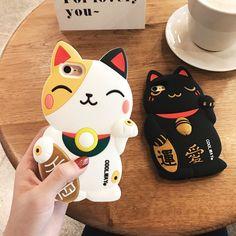 Japon Mignon 3D de Bande Dessinée Lucky cat silicone Souple case Pour iPhone 6 6 s 7 4.7 pouce 6 plus 6 s plus 7 plus Coque couverture arrière