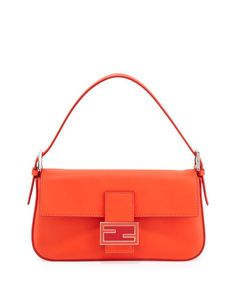 Fendi - Leather Baguette with Interchangeable Straps, Red