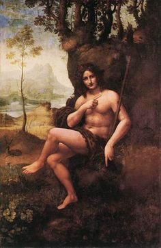 Leonardo da vinci,  Bacchus (St. John in the Wilderness). 1510-15. Oil on walnut panel transferred to canvas.