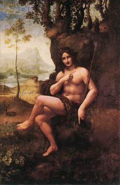 Leonardo da vinci,  Bacchus (St. John in the Wilderness). 1510-15. Oil on walnut panel transferred to canvas.