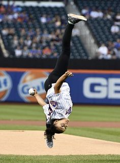 Laurie Hernandez first pitch | Laurie Hernandez Performs Amazing Aerial…