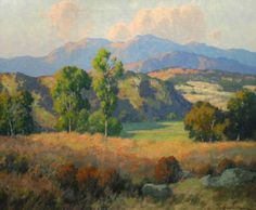 Plein Air artist Maurice Braun. Hungarian born, he opened a studio in Point Loma, CA, and painted the San Diego backcountry up 'til his death in 1941. Want desperately for a print of this.