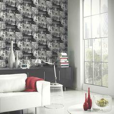 Arthouse Glitter London Wallpaper in Black - http://godecorating.co.uk/arthouse-glitter-london-wallpaper-black/