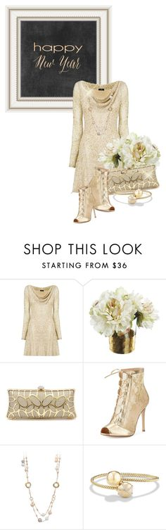 """Happy New Year"" by queenrachietemplateaddict ❤ liked on Polyvore featuring Nicole Coste, Gianvito Rossi, David Yurman, gold, Clutch, Boots and happynewyear"