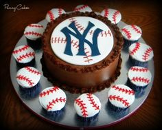 Yankees Cake/cupcakes Made these for a friend's hubby. Cake is chocolate with peanut butter filling and chocolate BC. Cupcakes are. Baseball Birthday Cakes, Cupcake Birthday Cake, Baseball Party, Baseball Cakes, Baseball Display, Baseball Season, Baseball Mom, Baking Cupcakes, Cupcake Cookies