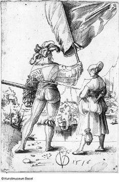 Urs Graf Fahnrich und Dirne in Ruckansicht 1516