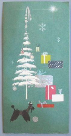 Vintage Greeting Card Christmas Black Poodle Dog California Artists Dick Kelsey
